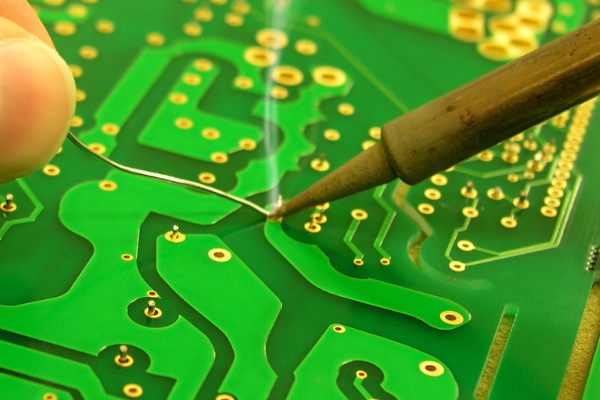 soldering iron and PCB